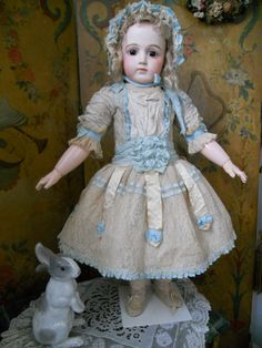 ~~~ Pretty Childlike French Silk Costume with Bonnet ~~~