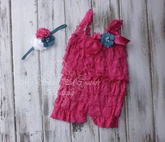 Hot Pink Embelished Lace Romper & Headband Set- First Birthday Outfit- Petti Romper- Cake Smash Outfit- Newborn Petti Romper- Headband by MySweetPeaCouture on Etsy