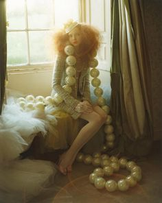 Tim Walker, Lily Cole and giant pearls, Northumberland, England, 2004