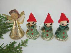 4 Vintage Christmas Spun Cotton Chenille Stand Up Angel Christmas Ornament | eBay