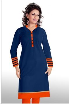 Here is a graceful collection kurti of contemporary style heavy traditional designer kurti for all you ladies who love to don royal elite attires. The color combinations and patterns are also equally delightful. (Slight variation in color, fabric & wo Navy Blue Color, Designer Wear, Beautiful Outfits, Cold Shoulder Dress, Kurtis, Clothes For Women, How To Wear, Cotton, Black
