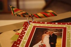 Put Christmas card pictures from years past on a metal ring to display on the coffee table.