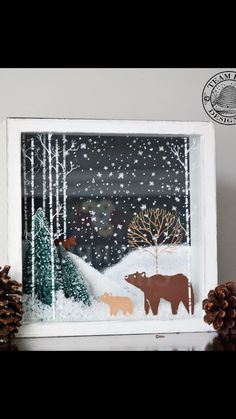 Christmas Window Decorations, Christmas Window Display, Holiday Decor, Christmas Makes, Christmas Crafts, Diy Christmas Shadow Box, Chalk Crafts, Chalk Design, Crafts For Seniors