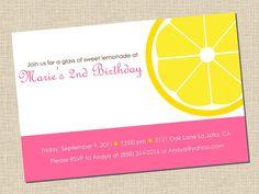 pink lemonade party invitation