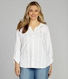 Reba Woman ButtonFront Woven Top #Dillards