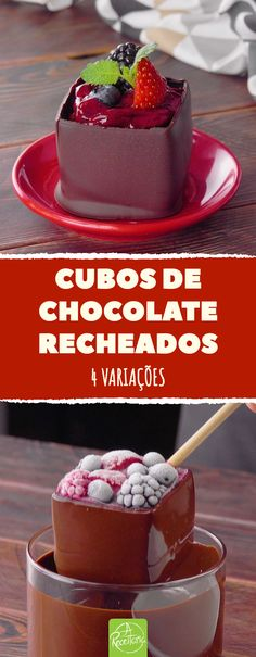 Cubos de chocolate recheados. 4 variações.  #receita #receitas #sobremesa #cubosdocinhos #chocolate #cubosdechocolate Panna Cotta, Cereal, Food And Drink, Pudding, Sweets, Breakfast, Ethnic Recipes, Desserts, Delicious Desserts