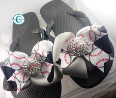 Baseball Bling Rhinestone Bow Flip Flops
