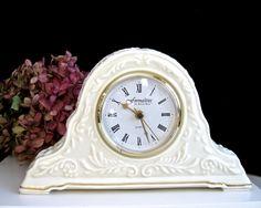 Vintage Mantel Clock Ivory Ceramic • Baum Bros. Embossed Scrolls Gold Trim • Working Quartz Movement • Hollywood Regency by KatesAtticBargains on Etsy