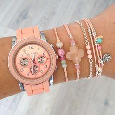 Mint15 - Watch 'Sunny Peach' and bracelets www.mint15.nl