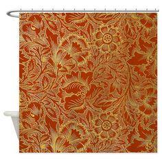 William Morris Poppy Shower Curtain On CafePress Craftsman Showers
