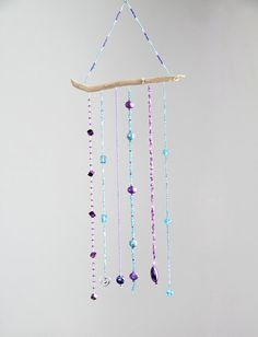 A Touch of Glass, Purple & Blue, Bead Mobile, Bead Hanging, Sun Catchers, Wall Decor, Light Catchers, Glass Beads