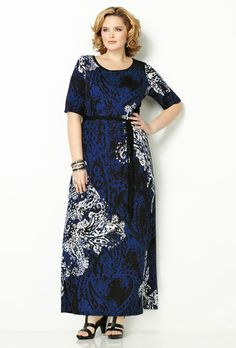 E/S PAISLEY PRINT MAXI DRESS, , large