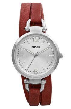 Fossil 'Georgia' Faux Wrap Leather Strap Watch