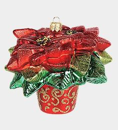 Pinnacle Peak Glass Red Poinsettia Plant in a Port Christmas Ornament