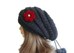 Slouchy Beanie,  Dark Grey  Womens Beret Hat,  tricot and crochet,  unique gift, new design, warm, soft, cute, Fashion 2014