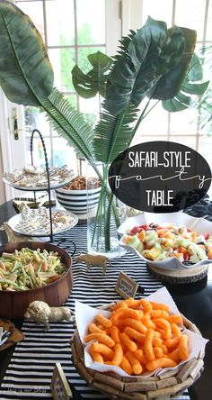 Safari Style Soiree Source List + 2 FREE Party Printables Welcome to the Jungle – safari jungle birthday party – first birthday party – party decorations – DIY party decorations – party table set-up This is our Bliss Jungle Book Party, Jungle Theme Parties, Jungle Theme Birthday, Safari Theme Party, Safari Birthday Party, Birthday Party Tables, Animal Birthday, First Birthday Parties, Birthday Ideas