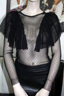 Priehľadné extravagantné tričko s dlhým rukávom / OutletModa - outlet moda, ...