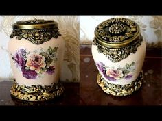 Decoupage glass jar, How to Decor glass jar with air dry clay - DIY Bottle Painting, Bottle Art, Jar Crafts, Bottle Crafts, Diy Decoupage On Glass, Air Dry Modeling Clay, Clay Jar, Recycled Wine Bottles, Decoupage Tutorial