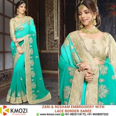 Buy the exclusive Zari and Resham Embroidery With Lace Border SAREE for your upcoming occasion and play the eye catcher's role. Order online now or WhatsApp us at +91-9825118172 Place your order at: http://kmozi.com/ #Online #Valentine #fashion #shopping #onlineshopping #clothing #western #surat #mumbai #pune #chennai #kolkata #fashiondesigner #designer #onlinebuying #onlineselling #traditional #indianwear #occasion #fashionista #saree #blue