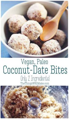 Coconut date balls are a two-ingredient sweet, made with only coconut and dates, without refined sugar, that can be formed into balls or pressed into molds. Coconut Desserts, Coconut Recipes, Real Food Recipes, Delicious Desserts, Snack Recipes, Dessert Recipes, Healthier Desserts, Vegan Recipes, Raw Desserts