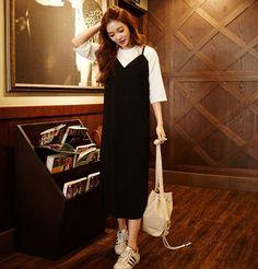 chuu - Set: Short-Sleeved Sweater + Spaghetti-Strap Midi Dress