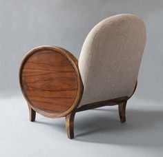 Pair of Swedish Art Deco Bergeres with oval rosewood panels. image 6
