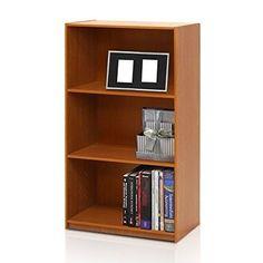 3-Tier Bookcase Storage Shelves Furniture Home Office, Light Cherry NEW #3TierBookcaseStorageShelvesFurniture