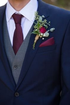 Wedding Suits Navy Blue and Burgundy Wedding, winter weddings ideas, wedding groom botonniere, wdding decorations, wedding accessories - Groom Style, Marie, Dream Wedding, Navy Blue Suits Wedding, Navy Blue Tuxedos, Fall Wedding Tuxedos, Wedding Navy, Mens Wedding Attire Summer, Wedding Suits For Groom
