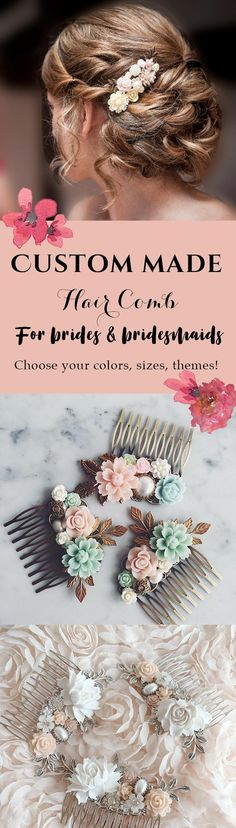 Customised Hair Comb, Bridal Hair Pin, Bespoke Wedding Hair Clip for Bride, Bridesmaids Gift, Hair Jewelry, Floral Hair Slide Made to Order