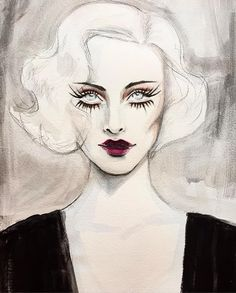"""1,368 curtidas, 10 comentários - Cathy Coufakis (@catcouart) no Instagram: """"#tbt a little early.. #acrylic and #watercolor #painting of #CarolLombard #1930s #Ultimate…"""""""