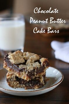 Peanut Butter Chocolate Cake Bars -   Plus a video tutorial on how to make your own sweetened condensed milk!  |  prettyhungryblog.com