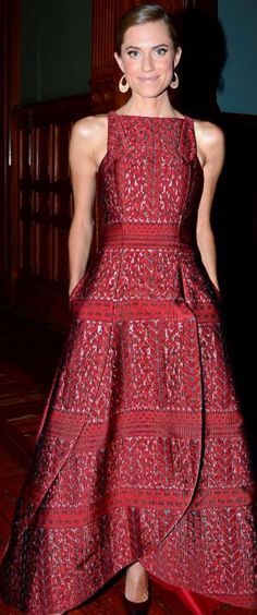Who made  Allison Williams' red print dress and cap toe pumps?