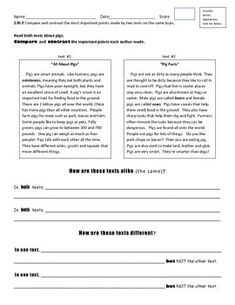 Compare And Contrast Passages For Reading Comprehension Lessons