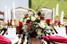 Black and Red Wedding Table: Crimson is also a great contrast hue to weddings with a lot of black and white. The great news is that don't need too much of it to make a stylish statement. | Gorgeous Ideas for a Red Wedding Palette