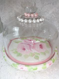 SHABBY ROSE PEARL GLASS DOME  avail on ebay!!  artist sunny-sommers