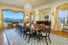 That view! This elegant 5700 square foot full floor apartment in San Francisco offers a grand scale living room and formal dining room that open to a solarium with balconies to the east and west. We think it's a perfect place in which to end to end the week. Offered at $24,500,000 http://pacunion.us/2006washington_8