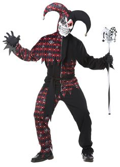 [Halloween Costumes Ideas] California Costumes Men's Sinister Jester Mardi Gras Carnival Costumes, Black/Red, Large ** Click image for more details. (This is an affiliate link) Clown Halloween Kostüm, Adult Halloween, Spirit Halloween, Trendy Halloween, Halloween Ideas, Scary Halloween Costumes, Carnival Costumes, Adult Costumes, Clown Costumes