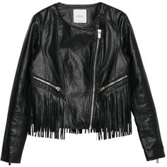 Mango Fringe Jacket, Black (1,810 MXN) ❤ liked on Polyvore featuring outerwear, jackets, tops, leather jackets, lined jacket, short jacket, black fringe jacket, mango jacket and genuine leather jacket
