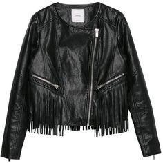 Mango Fringe Jacket, Black (€97) ❤ liked on Polyvore featuring outerwear, jackets, tops, coats, leather jackets, black fringe jacket, black leather jacket, mango jacket, genuine leather jacket and lined leather jacket