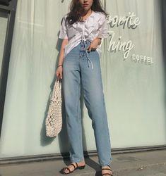 원본이 퍼팩트해서 보정이 필요없는 핏과 코디 College Style, College Fashion, Korean Street Fashion, Korea Fashion, Korea Style, School Outfits, Fasion, Spring Outfits, Fashion Beauty
