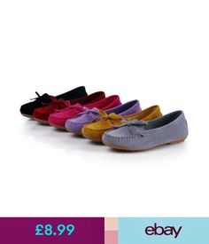 Flats Ladies Wide Fit Shoes Suede Flats Bow Moccasins Loafers Gift For Womens Mom N #ebay #Fashion