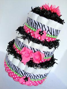 Baby Shower Diaper Cake - Zebra Hot Pink, Black & Green Polka Dot  Baby Girl Diaper Cake Shower Centerpiece - 3 Tier. $70.00, via Etsy.