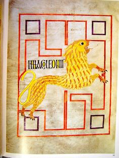 The Echternach Gospels of S Willibrord location c.690 75v Lion: Symbol of S Mark 9
