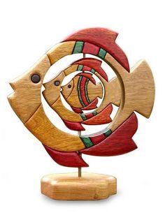 Playful Wood Fish Statuette Folk Art Hand Carved in Peru - Fish Family | NOVICA