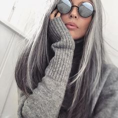 Cashmere, rosy cheeks and really cold feet. ╳ #babyitscoldoutside #winter #mordor #staywarm #iamcold #greyhair #silverhair #shadesofgrey