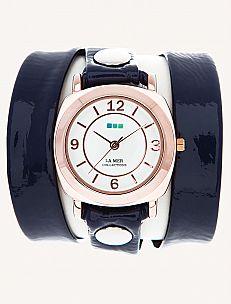 I am loving this patent navy La Mer Odyssey Wrap Watch.