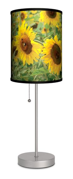 """Decor Art Sunflowers 20"""" H Table Lamp with Drum Shade"""