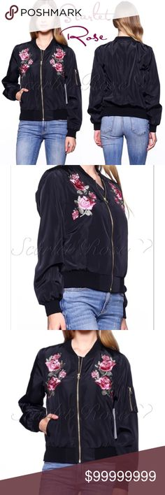 ❤️COMING SOON❤️ Black Bomber with Rose Embroidery We are loving these Black Bomber Jackets with Rose Embroidery! I will have sizes S - L. This is the perfect transition piece taking us from Summer to Fall and Winter. I will post more details and price as soon as they arrive. Like or comment to be notified of arrival. These are high quality Boutique Bomber jackets without the high price tag.. Stay Tuned, PFF's! ❤️❤️ Scarlet Rose Boutique Jackets & Coats