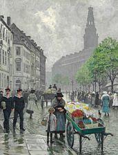 Ældre malerier: Paul Fischer: Livligt folkeliv på Højbro Plads. Sign. Paul Fischer. Olie på lærred. 75 x 58.