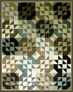 Another block repeated in 2 Japanese taupe fabrics.